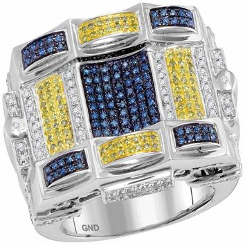 10kt White Gold Mens Blue Yellow Color Enhanced Diamond Checkered Square Cluster Ring 7/8 Cttw