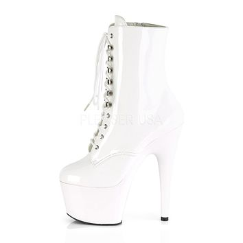 """Adore 1020 Lace Up Ankle Boot White Patent - 7"""" High Heels"""