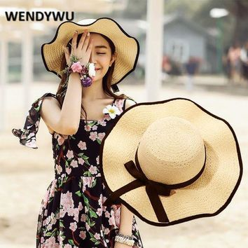 WENDYWU Big brimmed lady hat Summer sun hat with lotus leaves Elegant straw hat