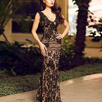 Black sleeveless lace dress 90897 - Prom Dresses