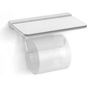 Dezi Home D1.201.PC Harmoni Single Post Toilet Paper Holder with Frosted Glass Shelf, NEW, OPEN BOX, box cold be damage