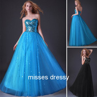 A-line Sweetheart Floor-length Chiffon Best-Selling Prom Dress with Gold Sequins