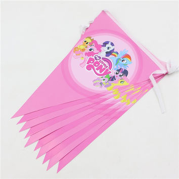 Decoration Paper Pennats Kids Favors Happy Birthday Flags Baby Shower Party Banners Little Pony Cartoon Theme Supplies 1set\lot