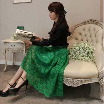 2015 new fashion green female dress elegant lady maxi skirt women black long lace skirts = 1946620100