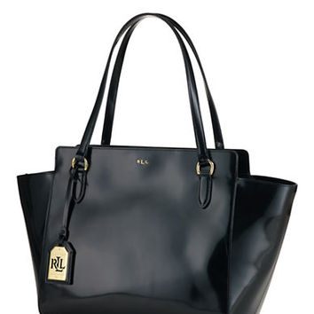 Lauren Ralph Lauren Taylor Spazzolato Leather Modern Tote Bag