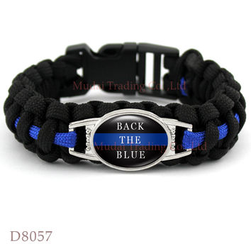 (Men's Fashion) BACK THE BLUE POLICE LIVES MATTER THIN BLUE LINE Paracord Survival Outdoor Camping Bracelet for Police Jewelry