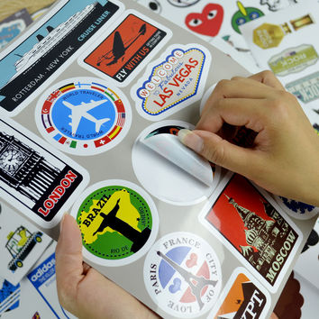 Famous Scenic Spots Vintage Computer Laptop Sticker Trolley Luggage Suitcase Sticker Car Styling Wall Skateboard Car Stickers