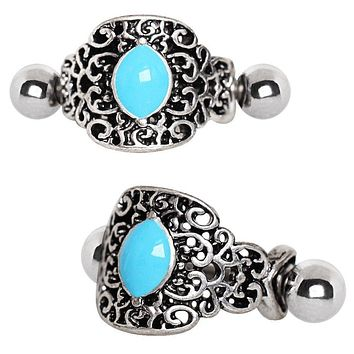 316L Stainless Steel Aqua Ornate Cartilage WildKlass Cuff Earring