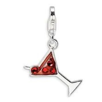 Crystal Martini Glass Charm in Sterling Silver