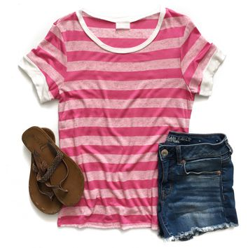 Hot Pink Striped Ringer Top