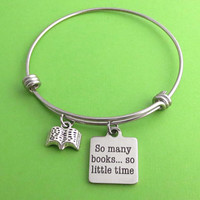 So many books...so little time, Book, Silver, Keychain, Bangle, Necklace, Birthday, Lovers, Friends, Sister, Gift
