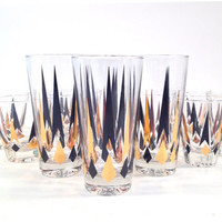 Mid Century Black and Gold Cocktail Glasses / Set of 12 / Anchor Hocking Golden Peaks / Diamond Arrow / Highball, Lowball, Double Shot
