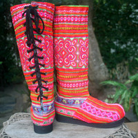 Womens Moccasin Boots In Pink Hmong Embroidery, Vegan - Viva