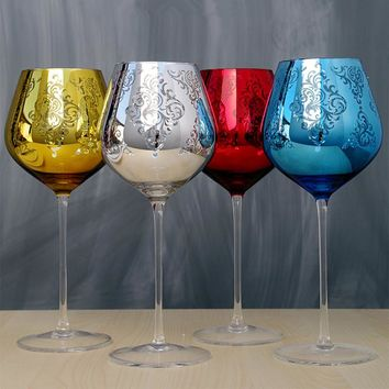 Multicolor Crystal Metal Wine/Champagne Glasses