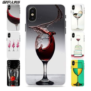 BiNFUL Red Wine Cup Glass Cheers style hard White Skin phone Case Cover for Apple iPhone 8 8Plus X 6 7 7Plus SE 6sPlus 5 5s