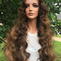 "CLEARANCE Almond Brown Highlighted 26"" Wavy Lace Front Wig"