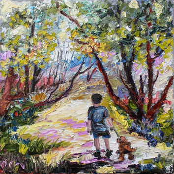 Morning Walk With His Dog Oil Painting