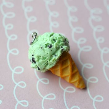 Mint Chocolate Chip Ice Cream Cone Charm or Key Chain, Polymer Clay