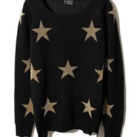 Black Knit Top with Glitter Star Print and Vent Hem