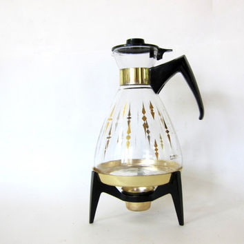 PYREX COFFEE CARAFE. Vintage Glass Pyrex. Stand and Candle Warmer. gold and black retro barware