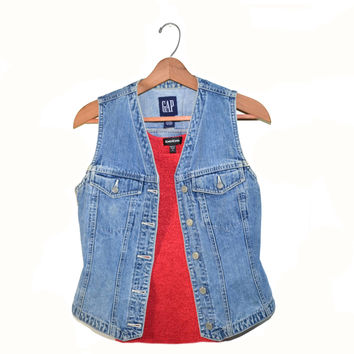 Vintage Denim Vest Gap Denim Vest Stone Washed Vest Gap Vest Size Small