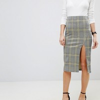 ASOS Pencil Skirt with Thigh Split in Check at asos.com