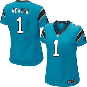 Women s Carolina Panthers Cam Newton Nike Panther Blue Game Jersey 391829408