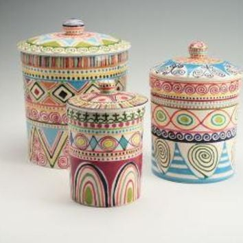 Bohemian Canister Set By Owlcreekceramics From