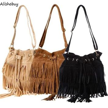 2017 Fashion Tassel Crossbody Bag Womens European Suede Fringe Handbags Messenger Bags String Brown Black Shoulder Bag SV013840