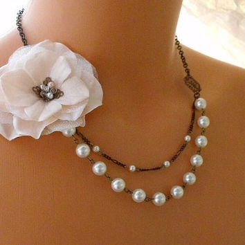 Soft Pink Floral Wedding Necklace With by pinkingedgedesigns