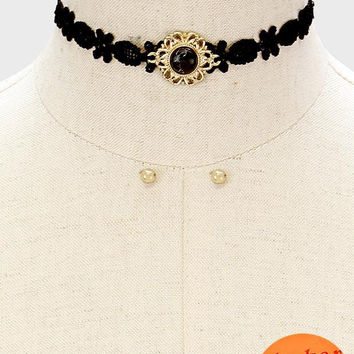 "11.50"" howlite stone lace choker collar necklace .20"" earrings .80"" wide"