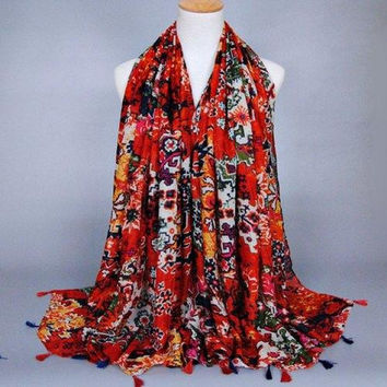 Chic Tassels Embellished Tribal Style Printed Scarf For Women