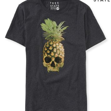 Aeropostale Free State Pineapple Skull Graphic T - Charcoal Heather Grey, X-Small