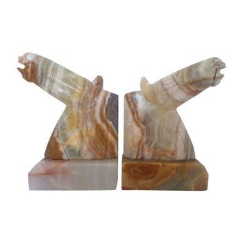 Pre-owned Onyx Horse Head Bookends - A Pair