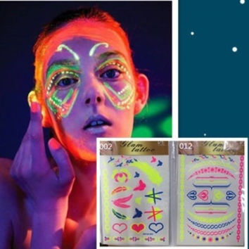 Vintage glow-in-the-dark Fluorescence Light Neon Tattoo Body Sticker Waterproof for Night Party = 1946200644