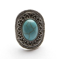Engraved Turquoise Ring