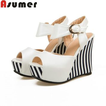 ASUMER Plus size 34-43 new fashion wedges women pumps peep toe party wedding shoes hig