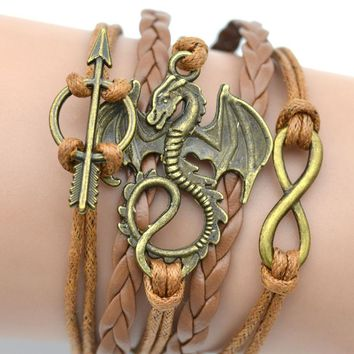Fashion Jewelry Zinc Alloy Infinity Wax Rope Game of Thrones Charm Bracelets & Bangles For Women And Men