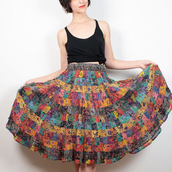 Vintage Bila Skirt Rainbow Floral Patchwork Plaid Print Midi Skirt Boho Gauze Knee Length Skirt Bohemian Hippie Circle Skirt S M Medium L