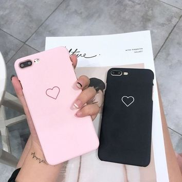 New Men Women Sweet Love Heart Couple Frosted Hard Back Cover Cute Protection Phone Case for IPhone X 6 6S 6Plus 6S Plus 7 7Plus