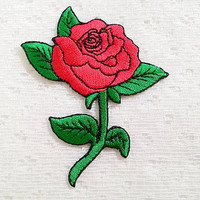 Red Rose Flower New Sew on / Iron On Patch Embroidered Applique Size 6.5cm.x7.9cm.