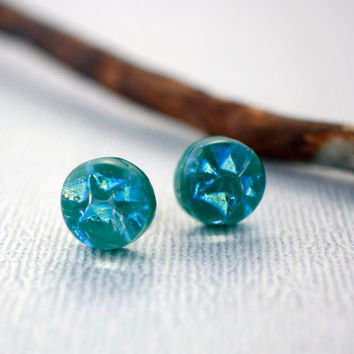 Sterling Silver Stud Earrings - Green Stud Earrings - Jade Green Earrings - Unique Stud Earrings - Birthday Gift for Friend - Glass Earrings