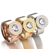 2017 Fashion 7 Color Zircon Crystal Stone Interchangeable Rings Gold-Color 316L Stainless Steel Rings For Women