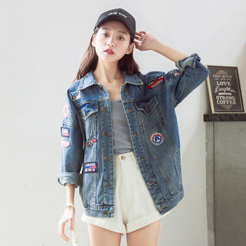 Jeans jacket women autumn casual slim denim appliques patches patchwork vintage outwear oversized collar bomber Basic coat 2016