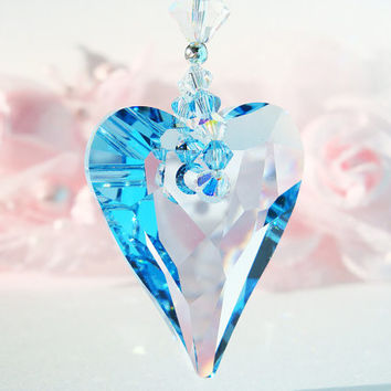 Crystal Suncatcher Rear View Mirror Charm Swarovski Aquamarine Blue Crystal Car Accessories