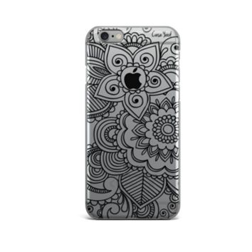 Clear Plastic Phone Case - Black Henna Mehndi - iPhone 5/5s/SE, 6, 7
