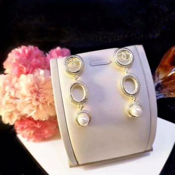 Grace Chanel Hoop Dangling Pearl Earrings Circle Drop For Ear