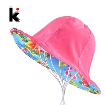 PEAP78W Summer Floppy Sun Hat For Women Flower Patten And Solid Color Two Side Use Beach Hats Foldable Bucket Cap Sombreros Mujer Verano