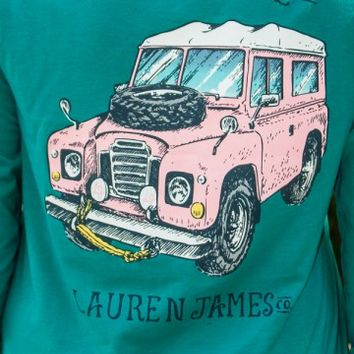 LAUREN JAMES: Prep My Ride Long Sleeve Sweet Tee Shirt - Tropical Green