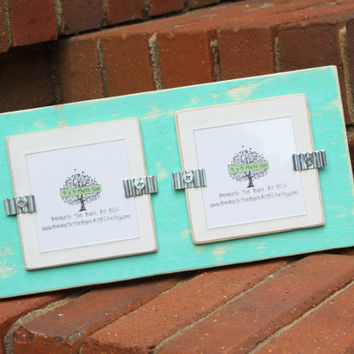 Picture Frame - Double 3x3 Pictures - Distressed Wood - Seafoam Green & White